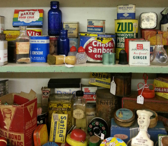 Vintage spice tins at Somerville Center Antiques