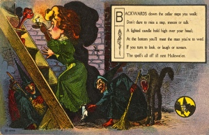 Halloween bewitching vintage postcard