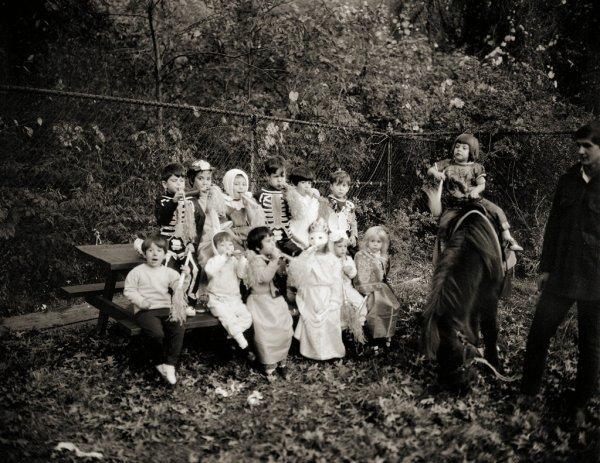 Halloween vintage photograph children in costumes