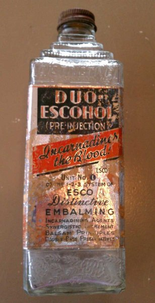 Vintage bottle of embalming fluid